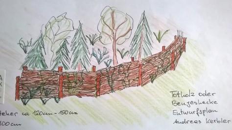 Benjes oder Totholzhecke
